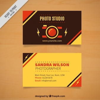 Cartão de estúdio de fotografia retro