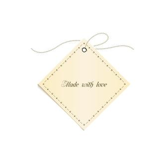 Cartão de etiqueta de papel amarelo elegante