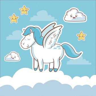 Cartão de fantasia de unicórnio estrela de nuvem de sonho kawaii