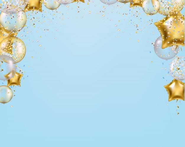 Cartão de felicitações com balões de ouro