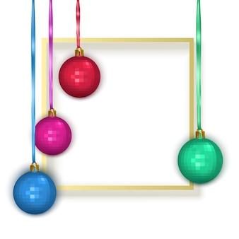 Cartão de felicitações com moldura de texto azul e bolas de natal coloridas cartão postal de ano novo
