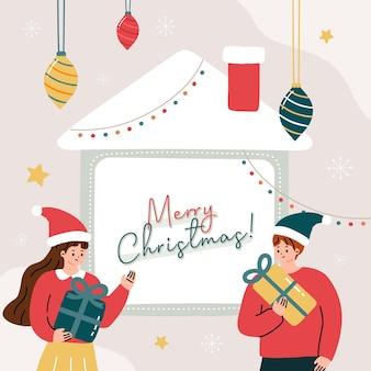Cartão de felicitações com pessoas de natal e paisagem decorada com ilustração de elementos de natal