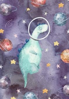 Cartão de felicitações com um lindo dinossauro verde, astronauta, planetas, estrelas, uma linda ilustração em aquarela