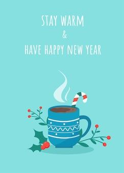 Cartão de felicitações com votos de feliz ano novo