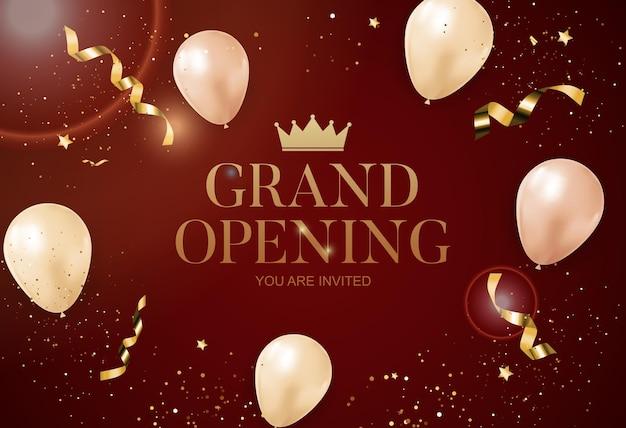 Cartão de felicitações da grande inauguração com balões