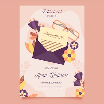 Cartão de felicitações de aposentadoria de design plano