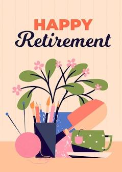 Cartão de felicitações de aposentadoria orgânico criativo