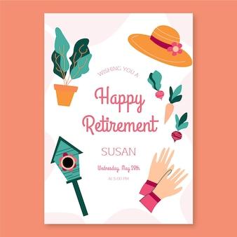 Cartão de felicitações de aposentadoria plana orgânica