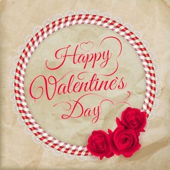 Cartão de felicitações de coração de papel rendado de dia dos namorados.