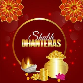 Cartão de felicitações de dhanteras felizes realistas com kalash de moeda de ouro