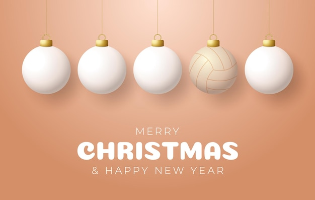 Cartão de felicitações de esporte voleibol de feliz natal e feliz ano novo. bola de vôlei como uma bola de natal na cor de fundo. ilustração vetorial.