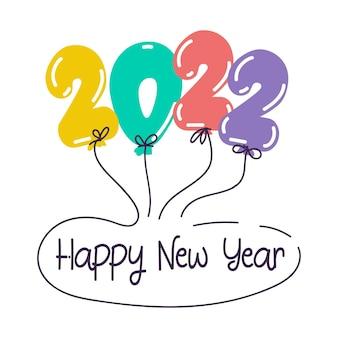 Cartão de felicitações de feliz ano novo com balões de números e cartazes de férias