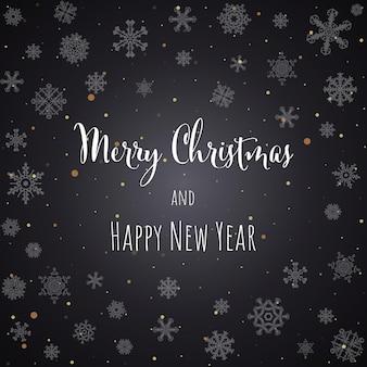 Cartão de felicitações de fundo preto de natal e ano novo com letras. ilustração vetorial