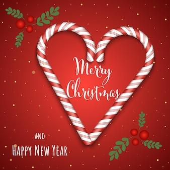 Cartão de felicitações de fundo vermelho de natal e ano novo com letras de ilustração vetorial