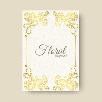 Cartão de felicitações de luxo com ornamento floral branco
