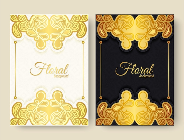 Cartão de felicitações de luxo com ornamento floral