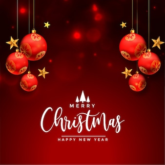 Cartão de felicitações de natal com bolas vermelhas realistas