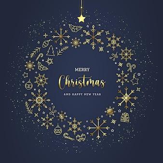 Cartão de felicitações de natal com ícones de arte em linha dourada