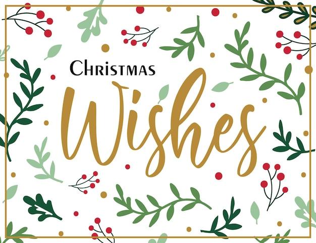 Cartão de felicitações de natal com padrão de folha de azevinho