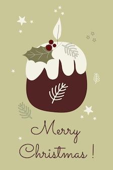 Cartão de felicitações de natal de inverno escandinavo aconchegante luz de velas modelo de feliz ano novo arte vetorial