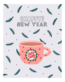 Cartão de felicitações de natal e ano novo com chocolate quente no estilo hygge. aconchegante temporada de inverno. escandinavo.