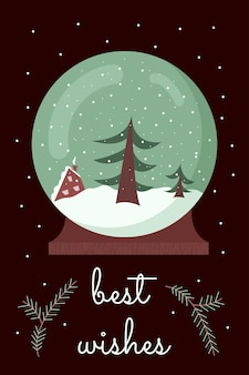 Cartão de felicitações de natal e ano novo com globo de neve linda bola de neve de inverno com árvore e casa