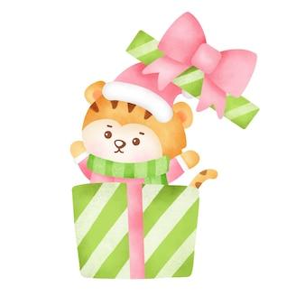 Cartão de felicitações de natal e ano novo com tigre fofo em estilo aquarela.