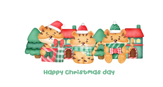 Cartão de felicitações de natal e ano novo com tigres bonitos.