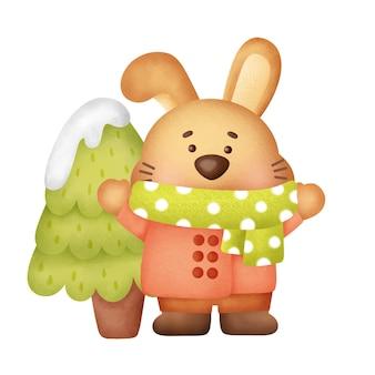 Cartão de felicitações de natal e ano novo com um coelho fofo em estilo aquarela.