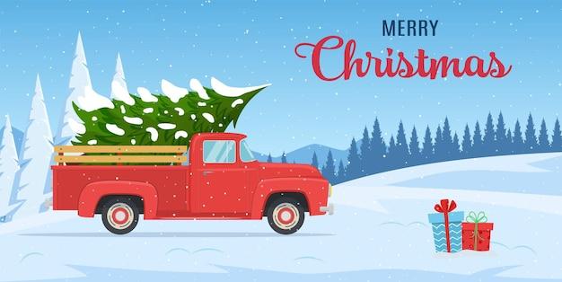 Cartão de felicitações de natal e ano novo dos desenhos animados. cartão de natal ou design de cartaz com caminhonete vermelha retrô com árvore de natal a bordo. ilustração vetorial em estilo simples