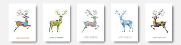 Cartão de felicitações de natal e ano novo renas de natal poligonal