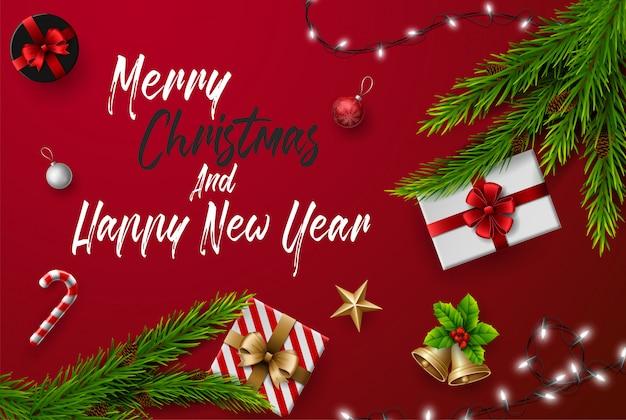 Cartão de felicitações de natal e feliz ano novo composição dos elementos com decorações de natal.