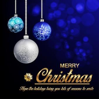 Cartão de felicitações de natal em um fundo preto-azul