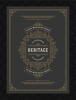 Cartão de felicitações de ornamento vintage com redemoinhos e vinhetas ornamentados caligráficos