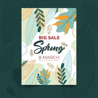 Cartão de felicitações de primavera plana