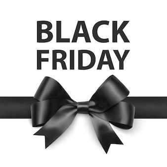 Cartão de felicitações de sexta-feira negra com um grande laço preto um modelo para o seu design um cartão de férias