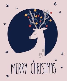 Cartão de felicitações de veado de feliz natal. guirlandas, balões, flocos de neve e uma inscrição. feliz ano novo design. perfeito para o logotipo da camiseta, cartão, cartaz, convite ou design de impressão.