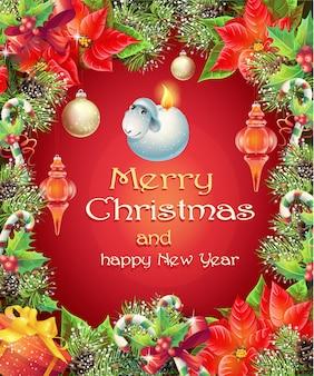 Cartão de felicitações de vetor com árvore de natal e ano novo com galhos, pinhas e brinquedos
