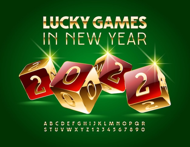 Cartão de felicitações de vetor com os desejos de jogos da sorte no ano novo de 2022, letras e números do alfabeto dourado