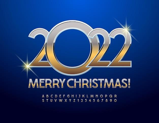 Cartão de felicitações de vetor feliz natal 2022 conjunto de letras e números do alfabeto em ouro fonte de metal elegante