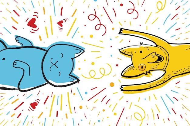 Cartão de felicitações de vetor para a festa com o cão e o gato