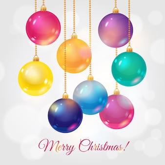 Cartão de felicitações de vetor para o natal com bolas decorativas coloridas