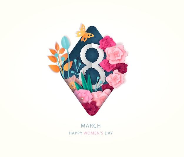 Cartão de felicitações do dia internacional das mulheres, banner de 8 de março com decoração de flores e número oito.