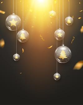 Cartão de felicitações do feriado da decoração do fundo da luz das bolas do natal de luxo. fundo de decoração de bolas de natal de vidro com confete.