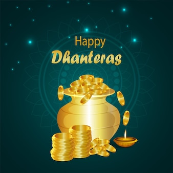 Cartão de felicitações do festival indiano feliz dhanteras com pote de moedas