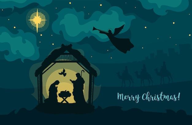 Cartão de felicitações do natal cristão natividade bebê jesus com maria e josé noite santa