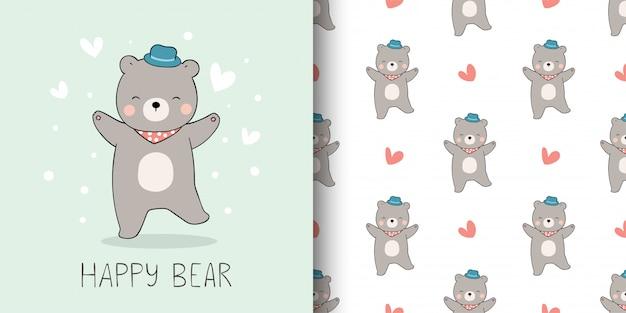 Cartão de felicitações e impressão padrão de urso para criança.