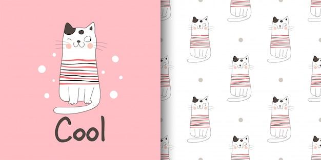 Cartão de felicitações e impressão padrão gato para crianças de tecidos têxteis.