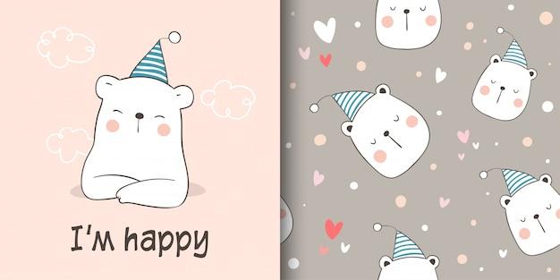 Cartão de felicitações e impressão padrão sem costura urso para crianças de tecidos têxteis.