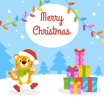 Cartão de felicitações em cores para presente simbol de tigre em um chapéu de papai noel feliz ano novo e feliz natal